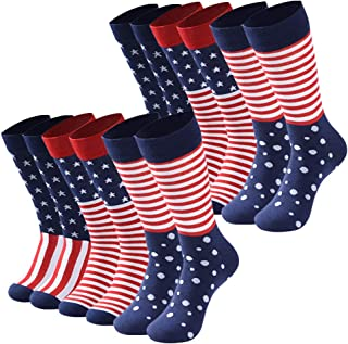 Patterned Dress Socks,DD DEMOISELLE Mens Colorful Patterned Dress Socks Funky Novelty Crew Socks,6/12 Pairs