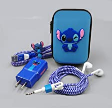 Cartoon USB Cable Earphone Protector Set With Earphone Box Cable Winder Stickers Spiral Cord Protector For Samsung S6 S7 Note5 (Stitch)