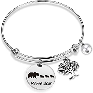 Mama Bear Bracelet Sweet Family Tree Bracelet Bangle Mama Bear Jewelry for Mom Grandma Wife Baby Bear Bracelet Bangle