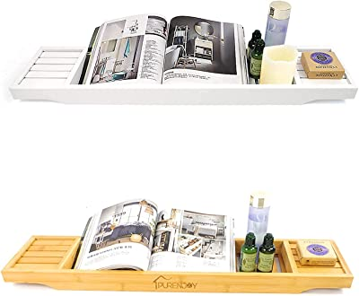 Bamboo Bathtub Caddy Tray Bathroom Shower Organizer White and Natural by Odeden