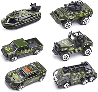 6 PCS Alloy Toy Cars, Die-cast Metal Model Cars, Mini Assorted Race Car, Back & Go Car Play Set for Kids Toddlers Boys Girls (Military)