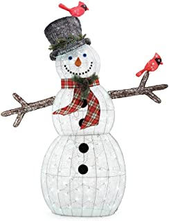 Home Accents Holiday 72IN 240L LED ACRYLIC SNOWMAN WITH 2 RED BIRDS