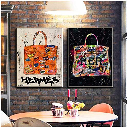 XuFan Bolsa de Graffiti Pintura de Lienzo Arte de Graffiti Abstracto Carteles e Impresiones Arte de la Pared Imagen Pop Sala de Estar Decoración para el hogar-20X30 Pulgadas 2 Piezas Sin Marco