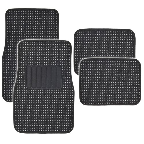 BDK MT-302-BK Black Premium Thick Plush Carpet Car Van SUV & Truck-Heavy Duty Woven Berber Style Floor Mat-4 Piece