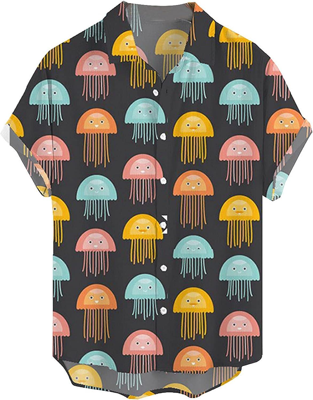 Men's Novelty Printed Short Sleeve Summer Beach Henley Shirts Casual Buttons Tops Hawaiian Shirt for Men