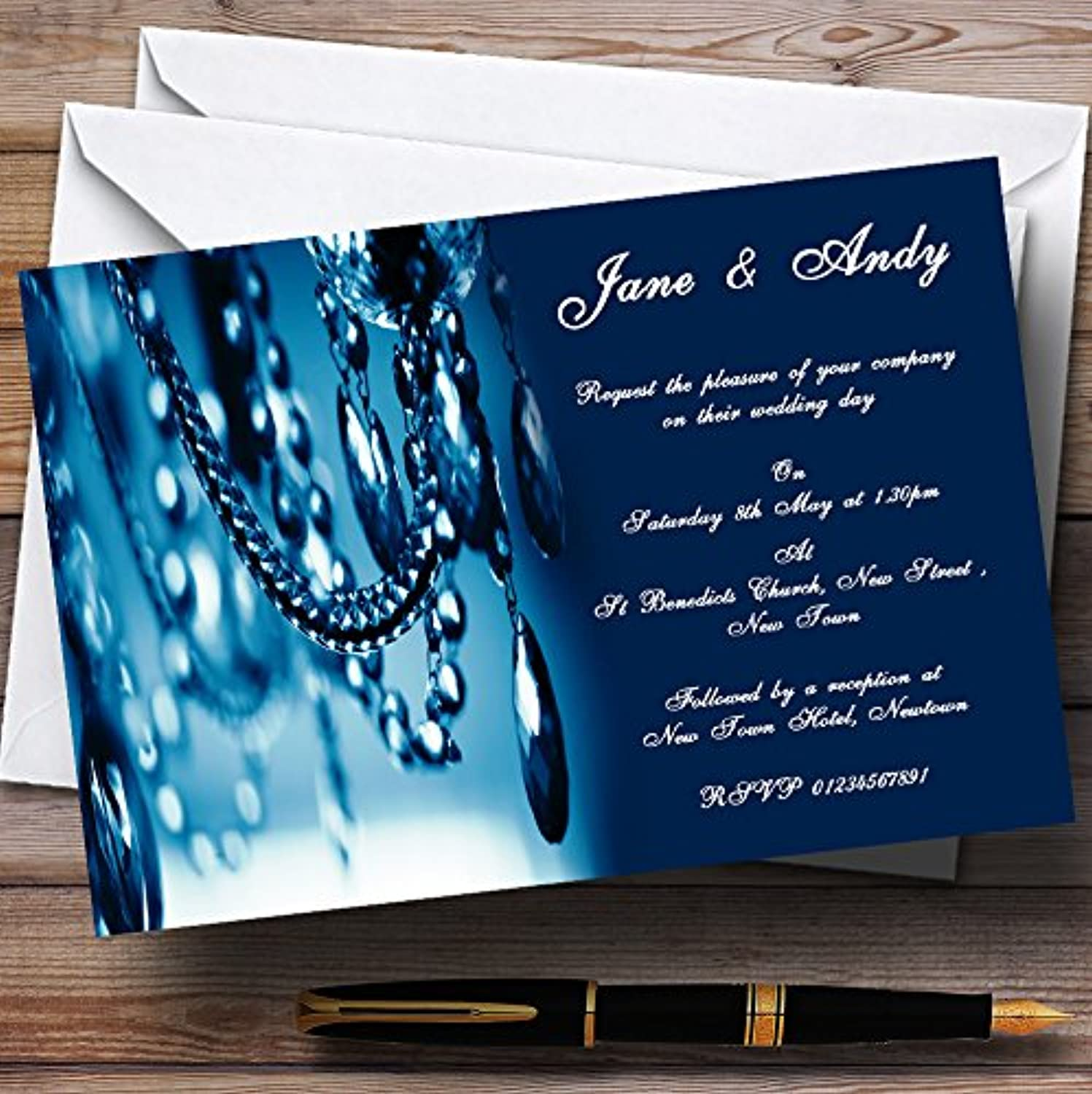 bluee Crystal Chandelier Personalised Evening Reception Invitations   Invites & Envelopes