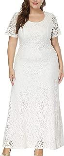 Erosebridal Women's Plus Size Full Floral Lace Wedding Maxi Dresses Evening Cocktail Party Dress