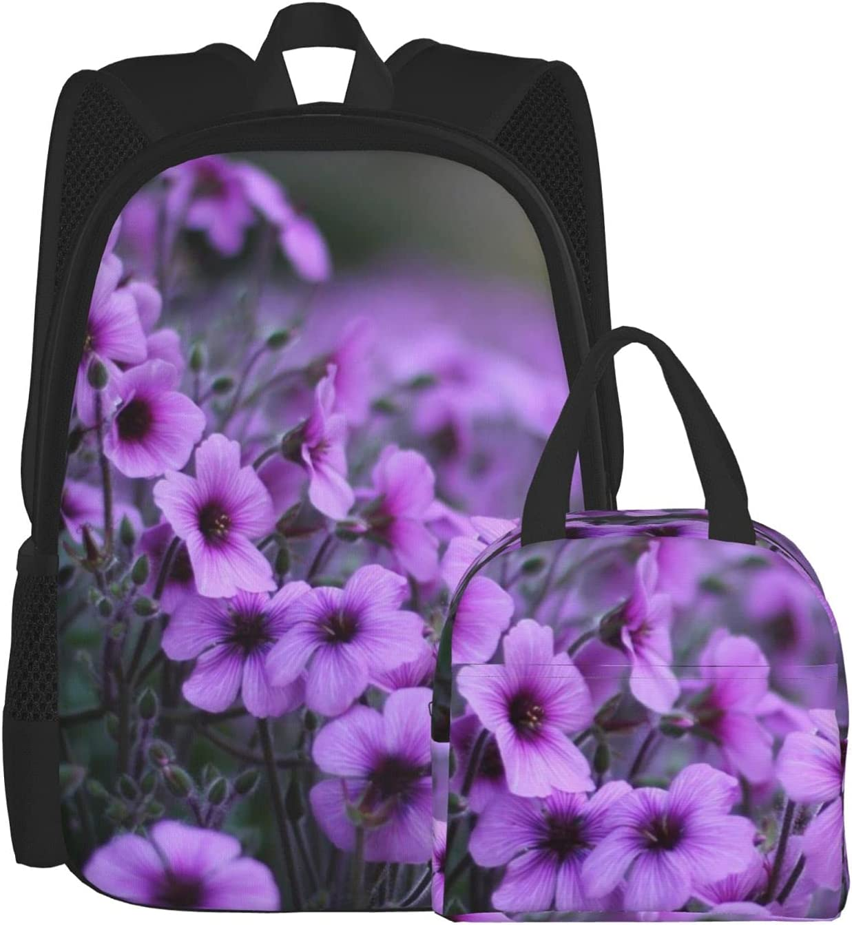 Backpack And Lunch Bag Set 2 Lavender Backp Bouquet service Piece Today's only Print