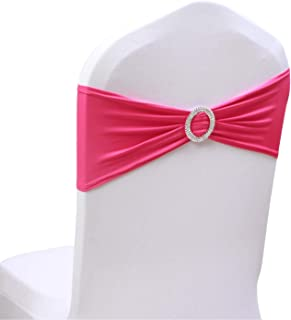 50PCS Spandex Chair Sashes Bows Elastic Chair Bands with Buckle Slider Sashes Bows for Wedding Decorations sy66 (Fushia)