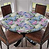 "Elastic Edged Polyester Fitted Table Cover,Various Mix Hyacinth Garden with Flowers and Leaf Branches Summer Plants,Fits up 45""-56"" Diameter Tables,The Ultimate Protection for Your Table,Lilac Fuchsia"