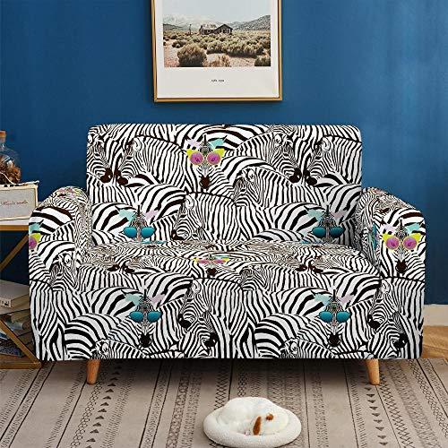 Funda de sofá de 4 Plazas Funda Elástica para Sofá Poliéster Suave Sofá Funda sofá Antideslizante Protector Cubierta de Muebles Elástica Cebra Animal Negra Funda de sofá