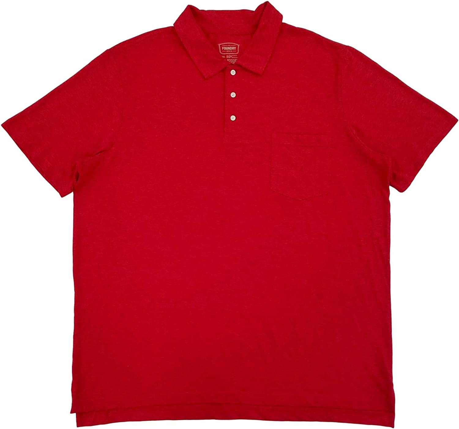 The Foundry Mens Big & Tall Red Barbados Cherry Heather Polo T-Shirt 2XLT