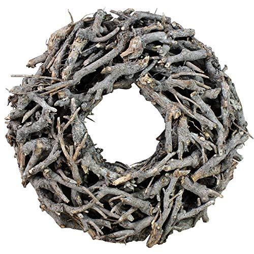 Kranz aus Zweigen D=50cm Vintage weiss grau rund Wurzelkranz