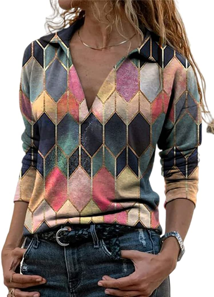 Melliflo Womens Casual V Neck Shirts Color Block Long Sleeve Geometric Print Blouse Top