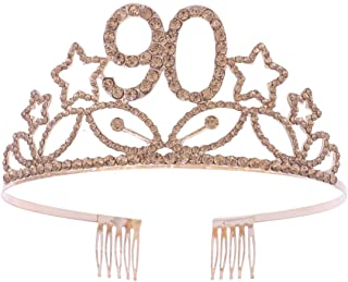 Crystal Birthday Crown, Rhinestone 90 Years Old Birthday Party Tiara with Comb for Women (Gold)