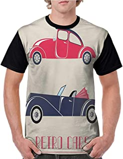 Baseball T-Shirt Summer,Cars,Old Fashioned Cars Convertible Urban Vehicles Classical Roadsters,Dark Coral Night Blue Pink S-XXL Summer Custom Tees for Girls