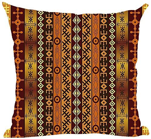 Mesllings - Funda de cojín de acuarela pintada a mano, estilo étnico bohemio, estilo retro, color marrón, decorativa, para el hogar, la sala de estar, la cama, el sofá, el coche, de lino y algodón, cuadrada, 45,7 x 45,7 cm