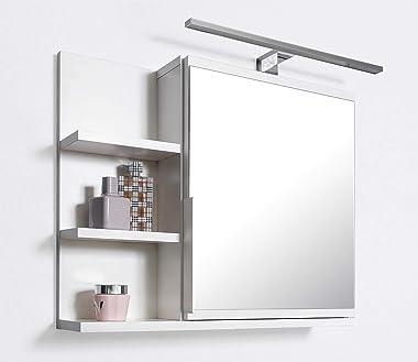 DOMTECH Armoire miroir de salle de bain avec étagères et éclairage LED Blanc L