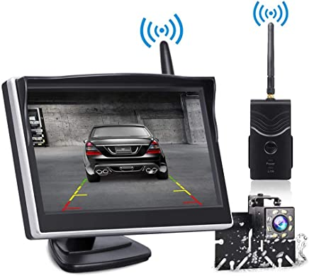 $99 Get Backup Camera and Monitor Wireless, Reverse Camera TOGUARD 5 inch Rear View Camera with IP69 Waterproof Vehicle Backup Cameras for Trucks/RV/Cars/SUV/Van/Pickup Supports Super Night Vision with 8 LED