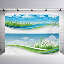 Nature Photography Background Cloth Fresh Summer Meadow Frames Grassy Green Field Rural Lawn Environment Eco for Photography,Video and Televison 19.6ftx10ft Blue Green and White