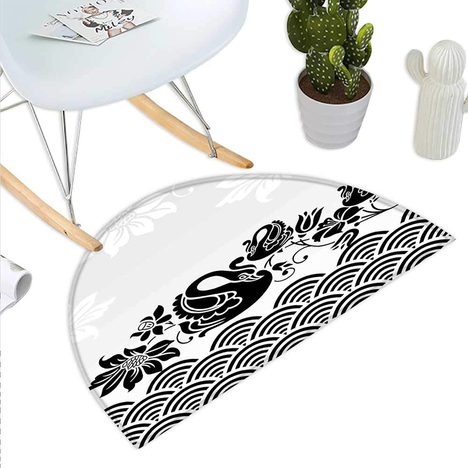 Swan Semicircle Doormat Black Swans Couple Swimming in Abstract Waves with Swirling Blooming Flowers Pattern Halfmoon doormats H 23.6  xD 35.4  Black White