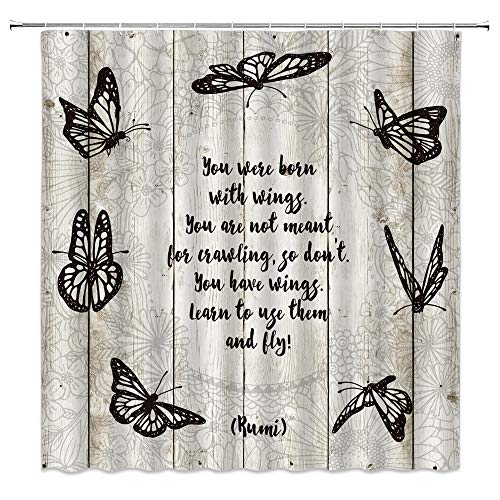 Butterfly Quote Shower Curtain Farmhouse Inspirational Motivational Quote Rustic Wooden Board Creative Art Fabric Bath Curtain 70x70 Inch with Hook