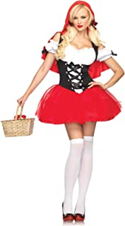Leg Avenue Women's Racy red Riding, Tutu Peasant Dress w/Attached Hooded Cape, Black, X-Small