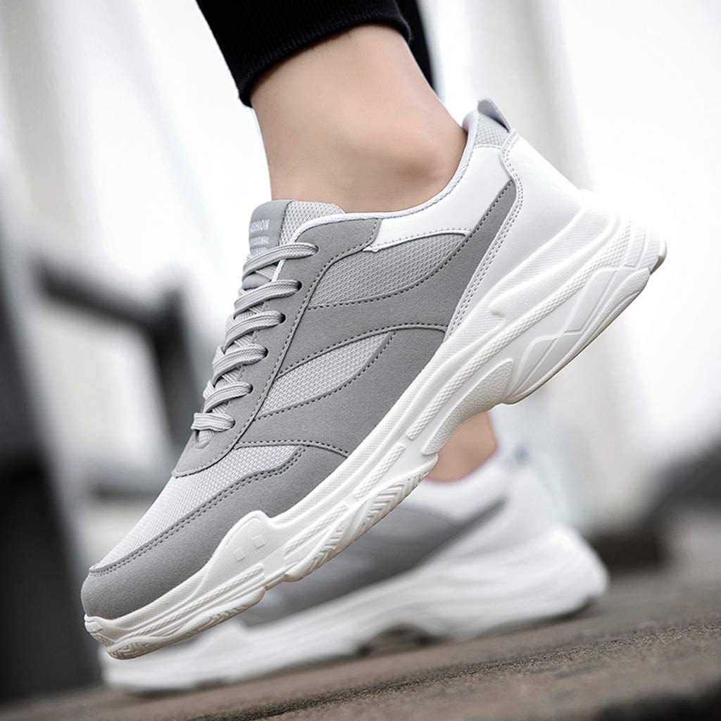 Doublelift Mens Fashion Classic Lace Up Sneaker Breathable Lightweight Non Slip Shoes Sport Running Shoes Mesh Street Sport Gym Running Walking Shoes Athletic Tennis Sneakers
