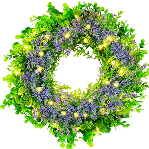 Phosooy 14 Inch Prelit Artificial Lavender Wreath with Hook, 40 LEDs Lighted Eucalyptus Lavender Wreath with Timer, Green Leaves Purple Wreath for Front Door, Wall Decor Indoor Outdoor