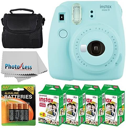 Fujifilm instax mini 9 Instant Film Camera (Ice Blue) + Fujifilm Instax Mini Twin Pack Instant Film (80 Shots) + Came...