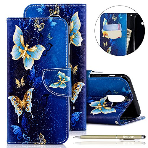Handy Hülle Kompatibel mit Samsung Galaxy A6 Plus 2018 Handy Schutzhülle Brieftasche Handytasche Lederhülle Leder Tasche Handytasche Wallet Klapphülle Flip Hülle Cover,Gold Schmetterling