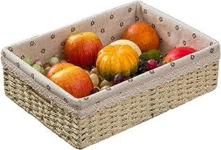 MAHFEI Corbeilles De Rangement Boîte De Bureau Livres Et Magazines Fruit Rotin Doublure Fait Main Lisse Résistant À l'usur...