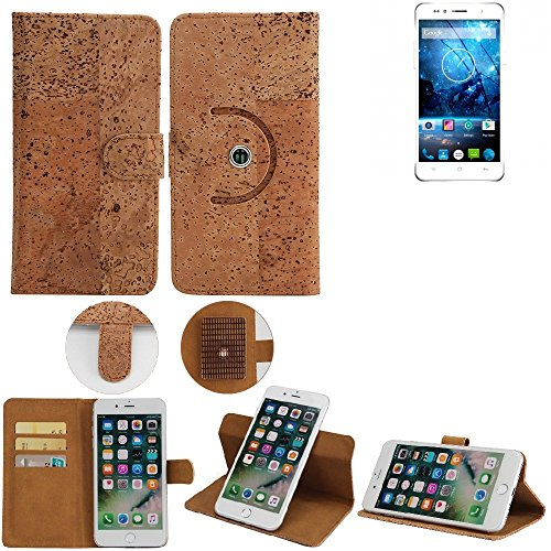 K-S-Trade Schutz Hülle Für Siswoo C55 Longbow Handyhülle Kork Handy Tasche Korkhülle Schutzhülle Handytasche Wallet Case Walletcase Flip Cover Smartphone Handyhülle