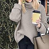 TianranRT Suéter de cuello alto de gran tamaño sólido de moda Suéter suelto...