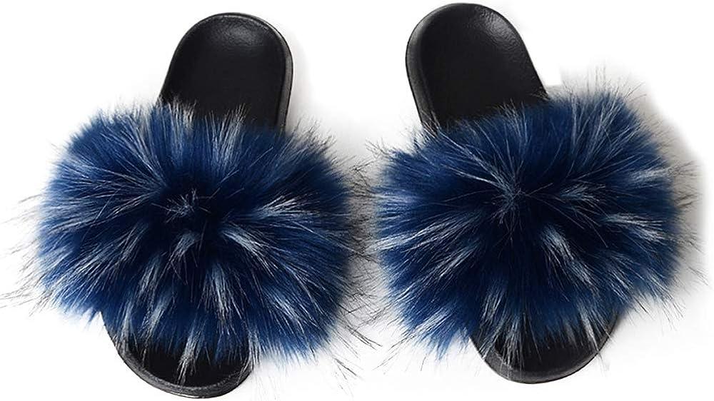 Xunxun Women's Faux Long-awaited Fur Slide Sandal Slipper Fox Soft wholesale Furry