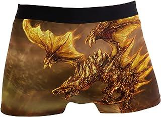 hengpai Cool Golden Dragon Prints Men's Boxer Briefs Soft Underwear Covered Waistband Short Leg