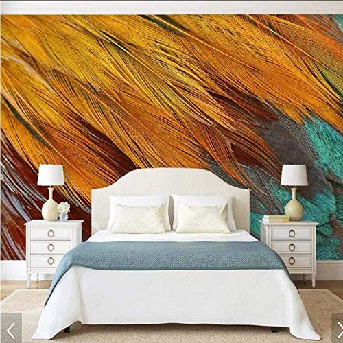 3D Animal Color Feather Print Wallpaper Mural Bedroom Wallpaper Roll Decorative Paper Wallpaper 3D 250x175cm
