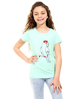 Andora Parrot Embroidery Short Sleeves Round Neck T-shirt for Girls