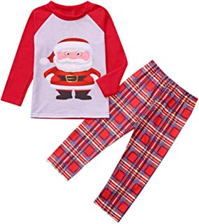 kingfansion Women Family Matching Santa Claus Print Christmas Pajamas Set Top+ Plaid Long Pants