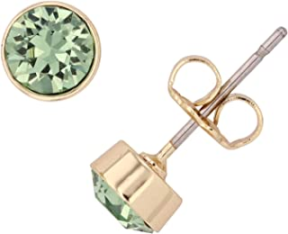 Womens Ladies Fashion Accessories Jewelry 14K Gold Plated Bezel Set Crystal Earrings 5mm Made with Swarovski Crystals