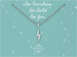 Lightning Bolt Necklace, Be Fearless Necklace, Be Brave Necklace, Inspirational Necklaces for Women, Strength Necklace Pendant, Encouragement Gifts for Women