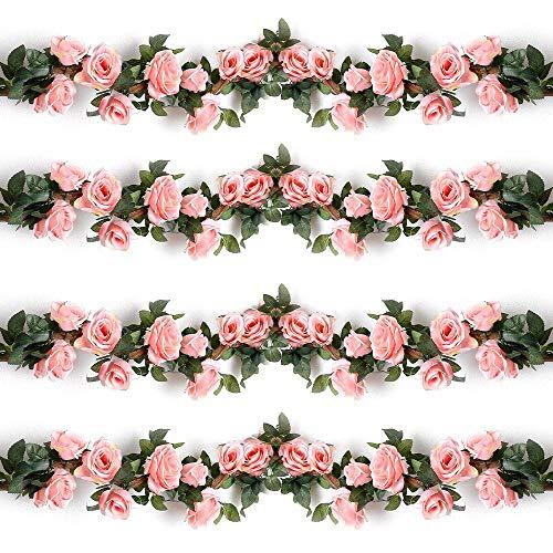 Künstlich Rosen Blumengirlande Kunstblumen Seidenblumen Blumen Rose Girlande Hängend Rebe für Zuhause Wand Hochzeit Bogen Anordnung Dekoration (2 Stücke, Rosa)
