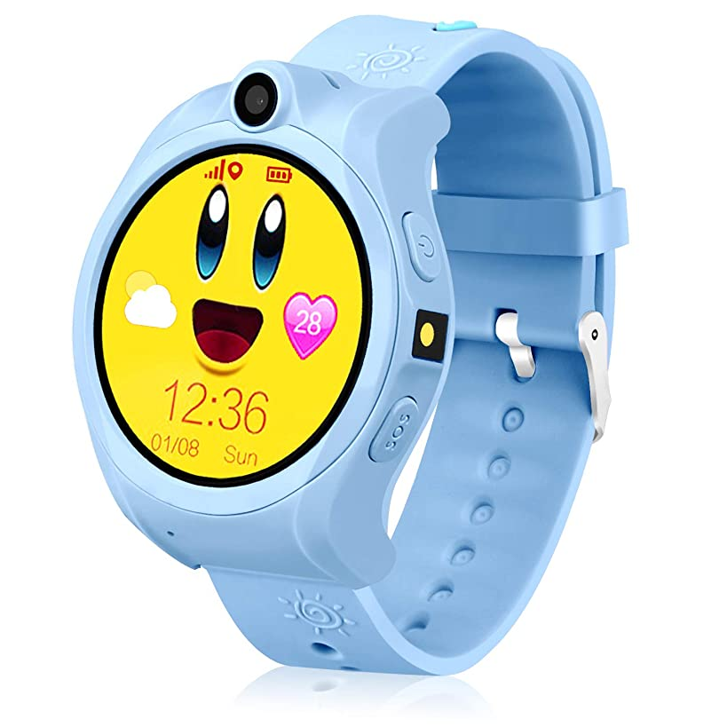 LJRYCQSSZSF GPS Watch Kids Smart Watches Boys Girls Kids Watches Kids Smartwatches Kids Phone Kids Tracker Education Learning Toys Age 3-15 Touchscreen Smart Watch Kids SIM Card Slot Birthday (Blue)