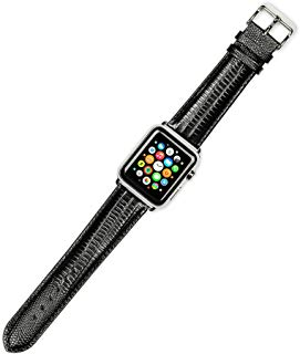 Debeer Replacement Watch Strap - Teju Lizard Grain - Black - Fits 38mm Apple Watch [Silver Adapters]
