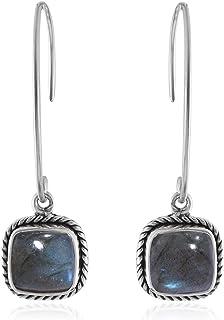 Orecchini Labradorite Cuscino, Orecchini pendenti, Orecchini pendenti in argento sterling 925 per regalo donna, Silver Ear...