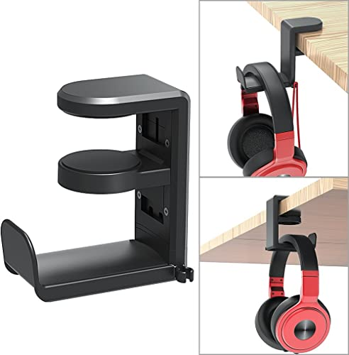 PC Gaming Headset Headphone Hook Holder Hanger Mount, Headphones Stand with Adjustable & Rotating Arm Clamp, Under De...