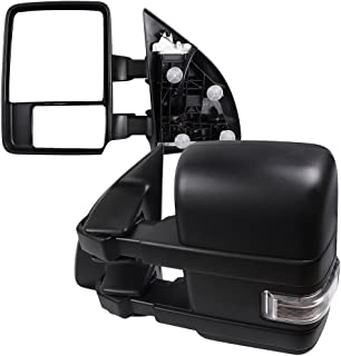 SCITOO fit Ford Super Duty Series Towing Mirrors with Puddle Lights Black Rear View Mirrors fit 2008-2016 Ford F250 Lights Turn Signal Power Control Heated Manual Telescoping Folding