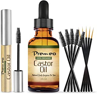 Organic Castor Oil With Applicator Kit - 2 OZ & Full Mascara Tube -100% Pure Cold Pressed, Hexane Free - Fabulous For Eyelashes, Hair, Eyebrows, Face and Skin -