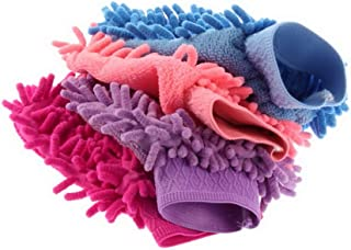 FADACAI 2 in 1 ultrafeine Faser Chenille Mikrofaser Autowaschhandschuh Mitt Weiche Mesh Unterlage kein Kratzer für Autowäsche und Reinigung