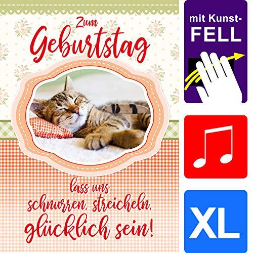 bentino Geburtstagskarte XL mit Kunstfell zum STREICHELN, DIN A4 Set mit Umschlag, bei jedem Streicheln hörst Du ein Katzen-Miau, Glückwunschkarte mit Sound, hochwertige Grußkarte